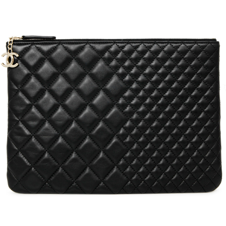 Chanel Black Quilted Lambskin Medium Cosmetic Case