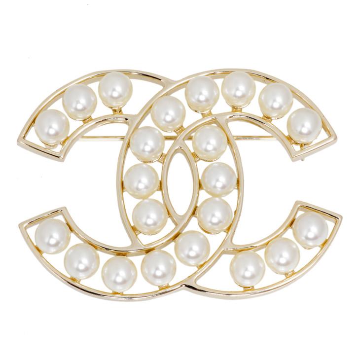Chanel CC Pearl Brooch