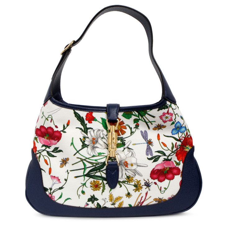 Gucci Blue Agata Flora Canvas Jackie Hobo
