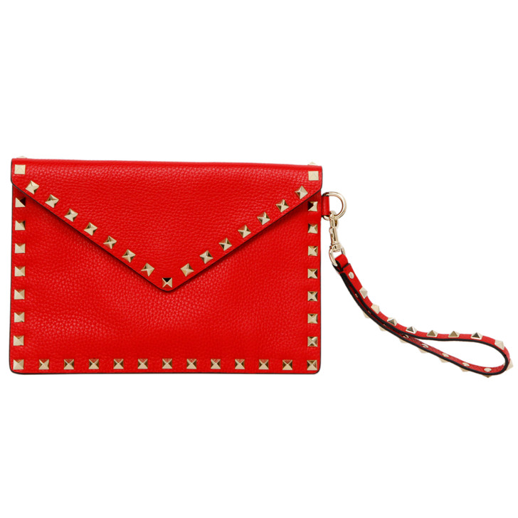 Valentino Red Pebbled Calfskin Rockstud Envelope Clutch
