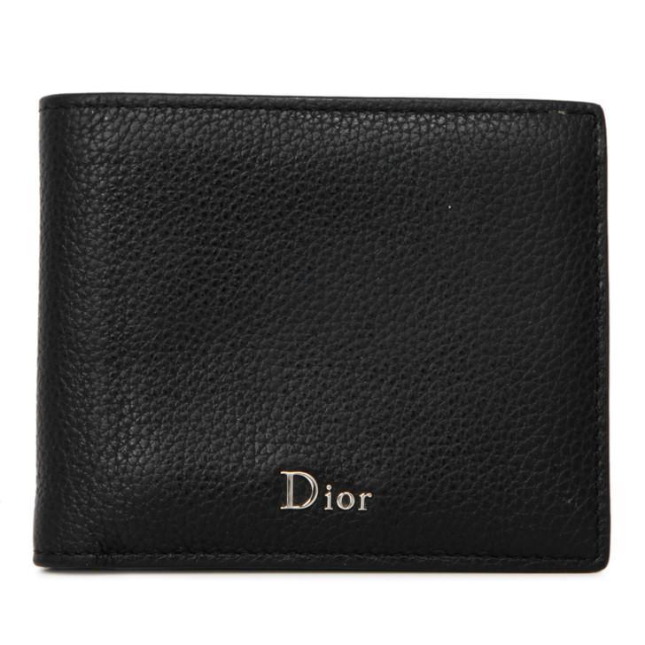 Christian Dior Black Grained Calfskin Bifold Wallet