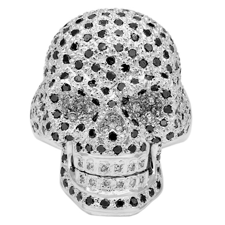 14K White Gold Black Diamond Skull Ring