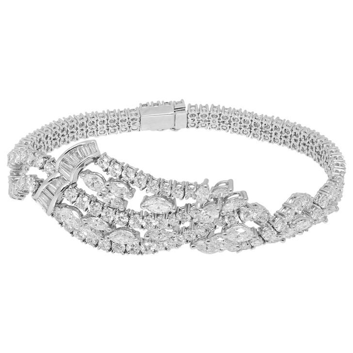 18K White Gold 9.08 Carat Diamond Bracelet