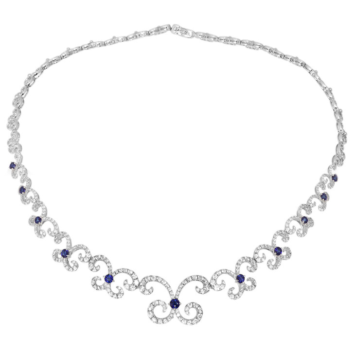 18K White gold 4.33 Carat Diamond & Sapphire Necklace