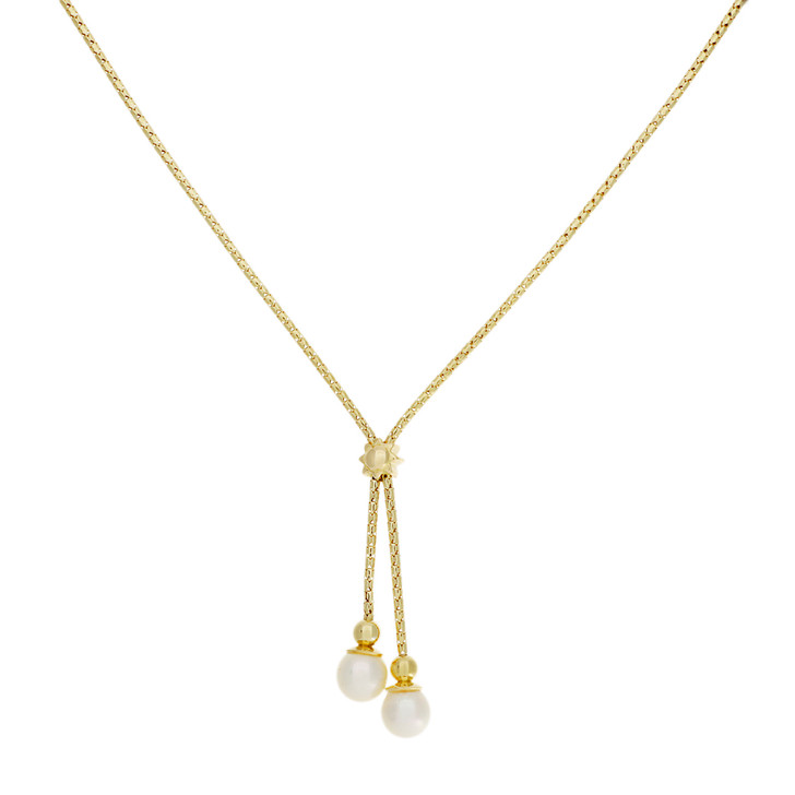 18K Yellow Gold Pearl Drop Pendant Necklace