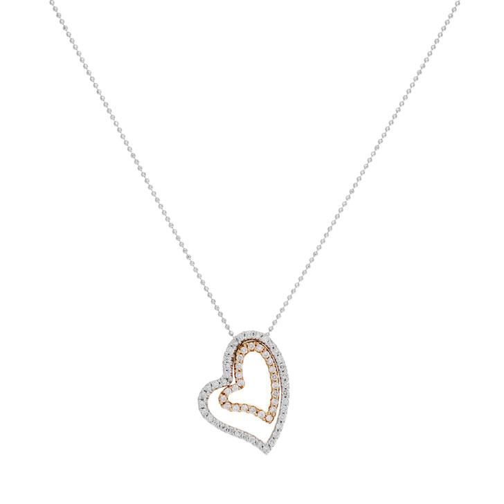 18K White & Rose Gold 0.60 Carat Diamond Double Heart Pendant