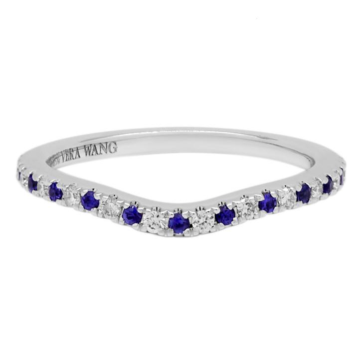 14K White Gold Vera Wang Diamond & Sapphire Wedding Band