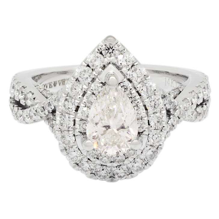 14K White Gold Vera Wang 0.85 Carat Pear Diamond Ring