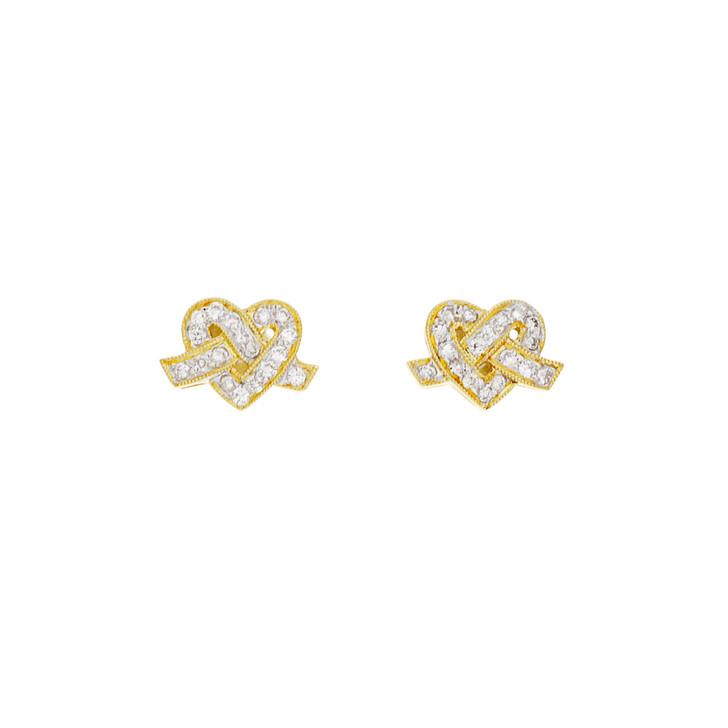18K Yellow Gold 0.18 Carat Diamond Heart Earrings