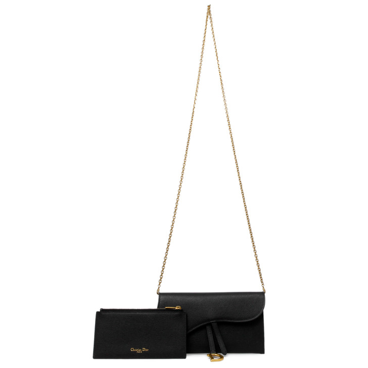 Christian Dior Black Grained Calfskin Saddle Chain Long Wallet