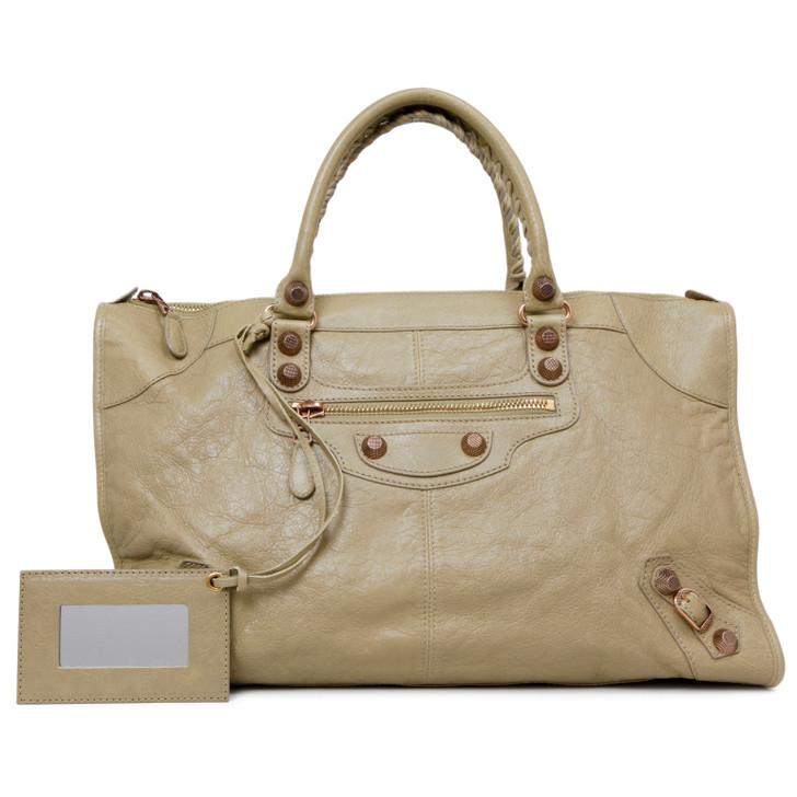 Balenciaga Beige Lambskin Work Bag