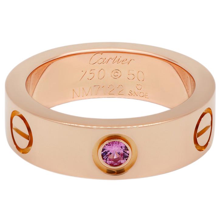 Cartier 18K Pink Gold Pink Sapphire Love Ring