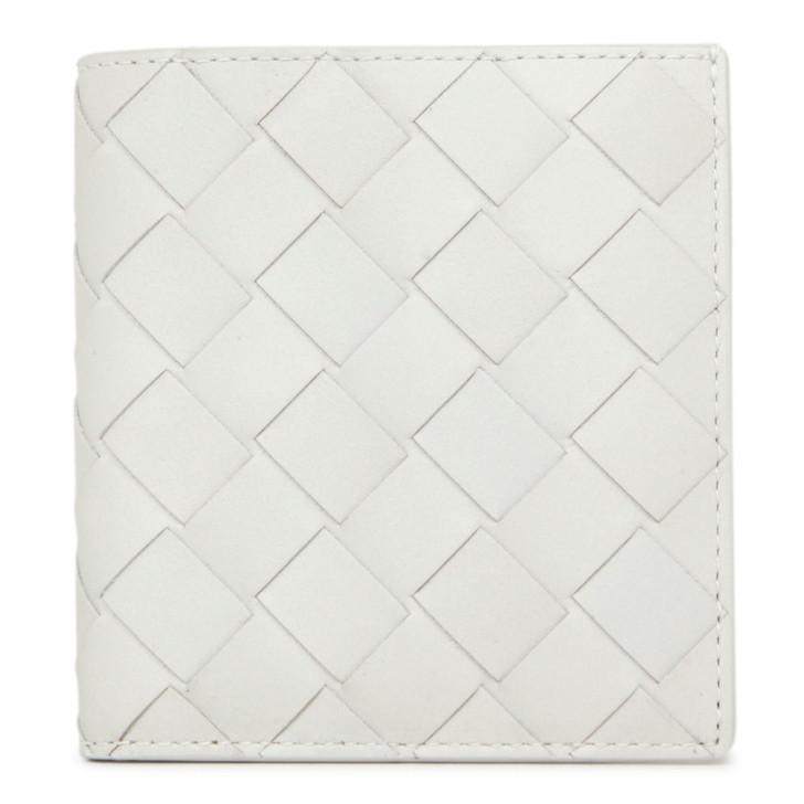 Bottega Veneta White Maxi Intrecciato Bifold Wallet