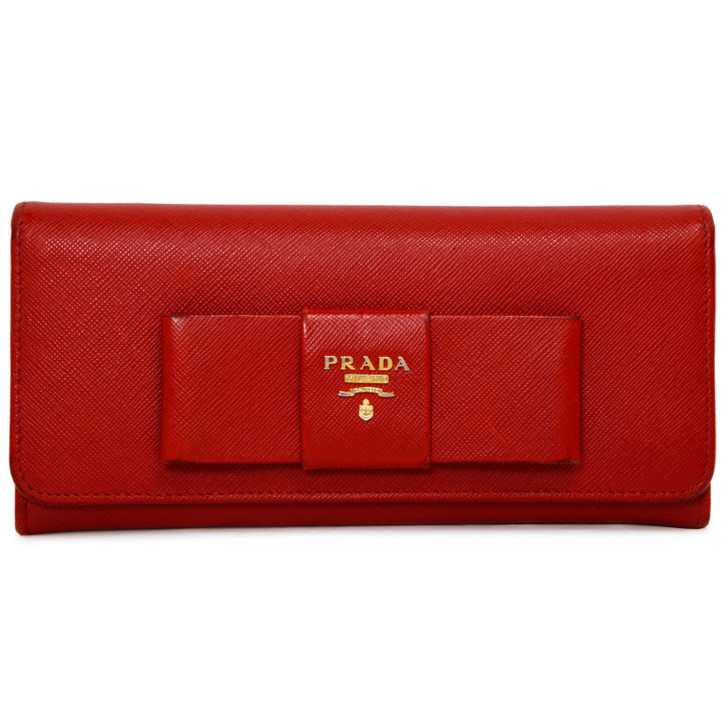 Prada Fuoco Saffiano Bow Continental Wallet