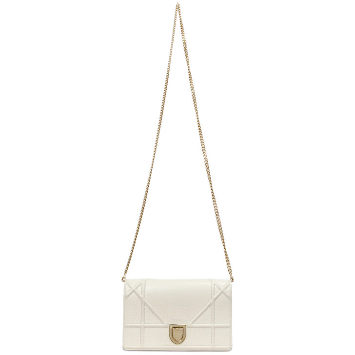 Christian Dior Ivory Grained Calfskin Diorama Wallet on Chain