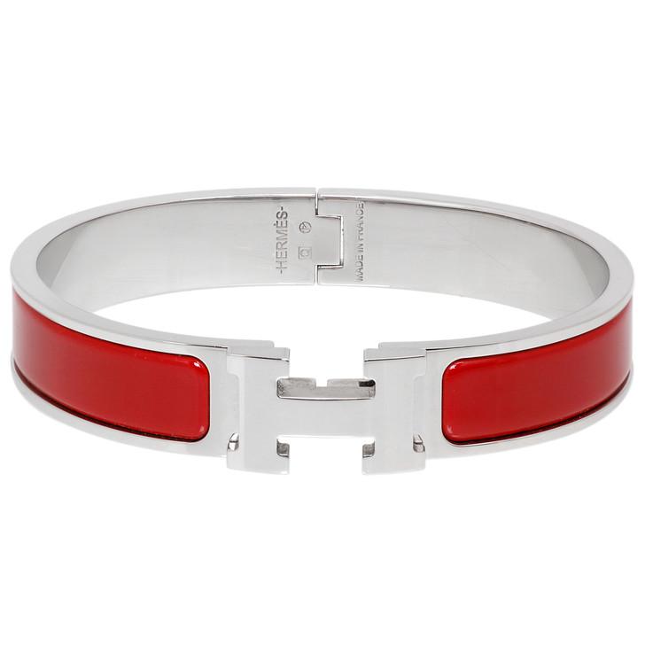 Hermes Red Enamel Clic H Bracelet