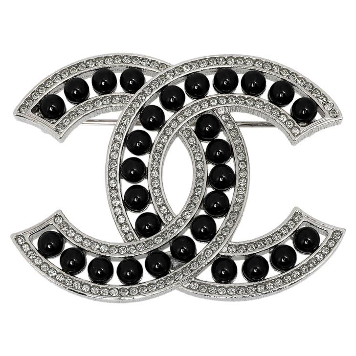 Chanel Black Bead Crystal CC Brooch
