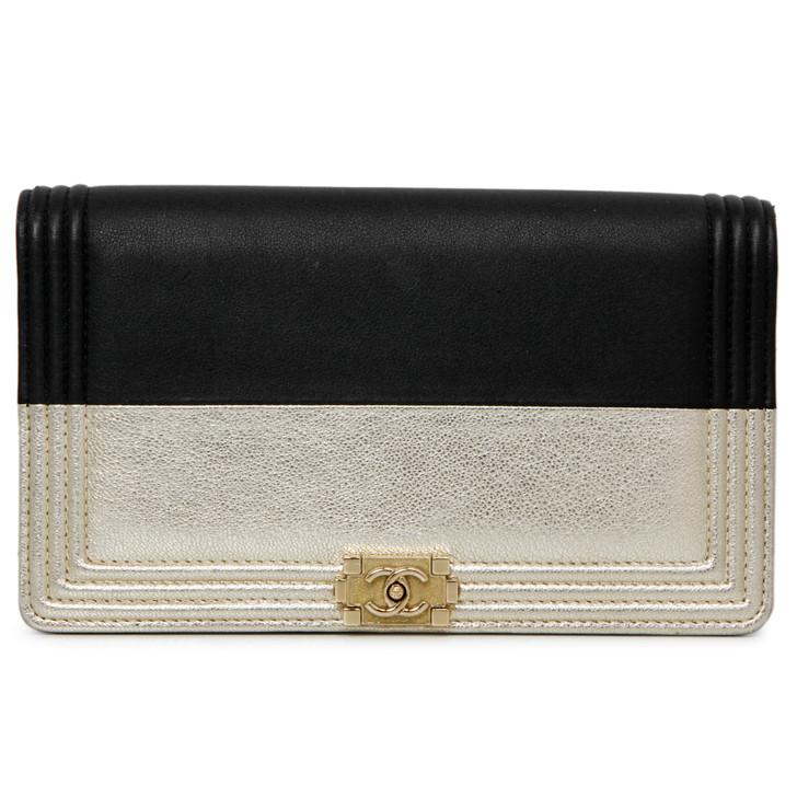 Chanel Black and Gold Calfskin Yen Wallet