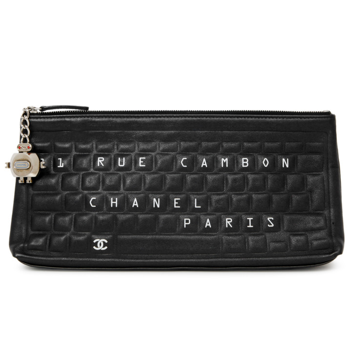 Chanel Black Calfskin Keyboard Pouch
