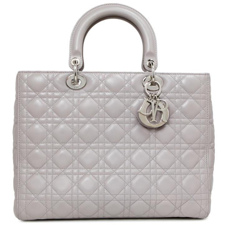 Christian Dior Grey Lambskin Cannage Large Lady Dior