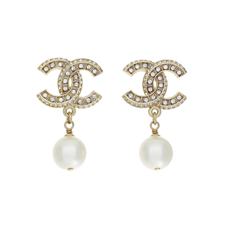 Chanel CC Crystal Pearl Drop Earrings