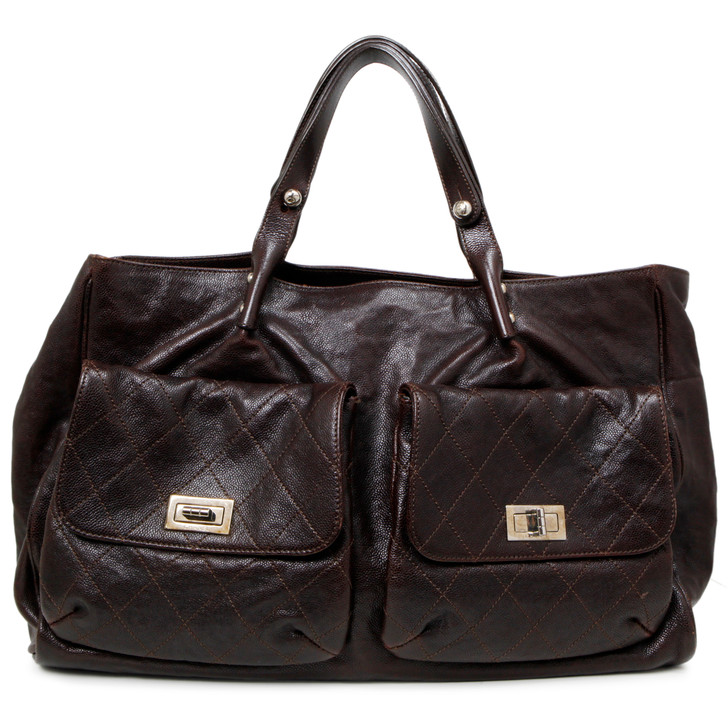 Chanel Brown Glazed Caviar Pocket in the City Tote