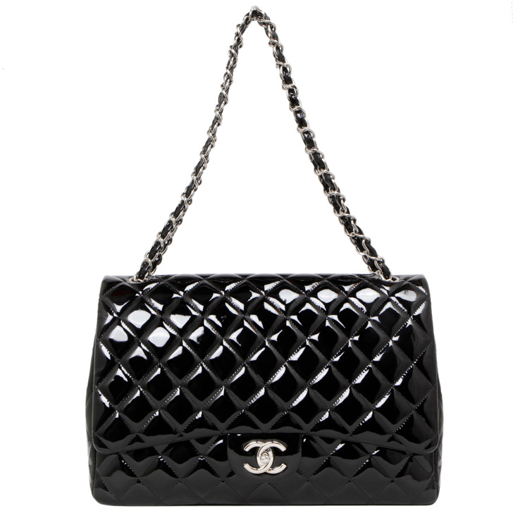 Chanel Black Quilted Patent Maxi Double Flap