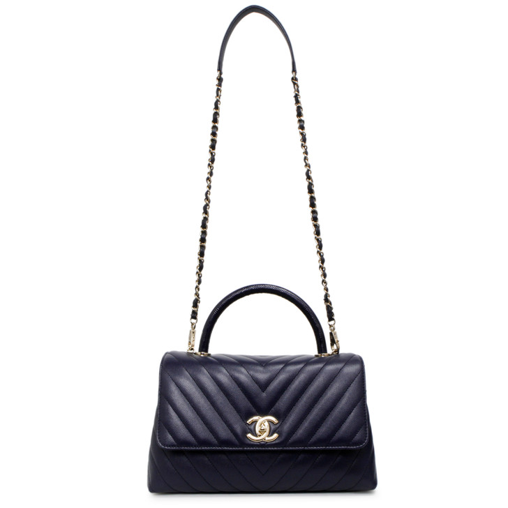Chanel Bleu Marine Chevron Quilted Caviar Small Coco Handle