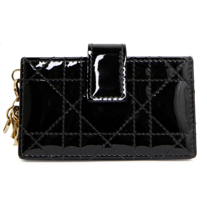 Christian Dior Black Patent Cannage Lady Dior Gusseted Card Holder
