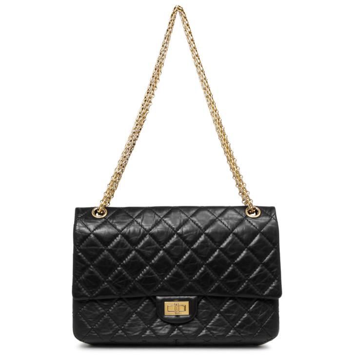 Chanel Black Aged Calfskin Reissue Double Flap 226