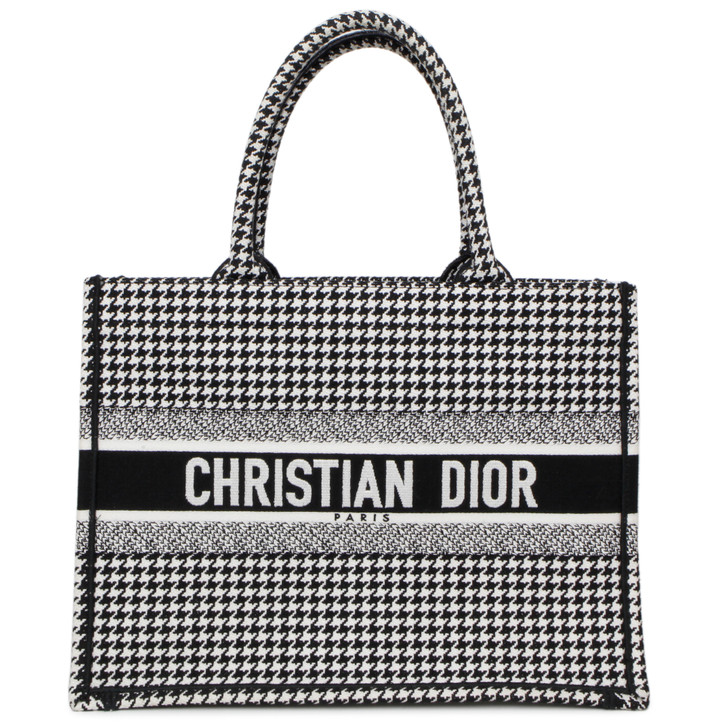Christian Dior Black and White Small Houndstooth Book Tote