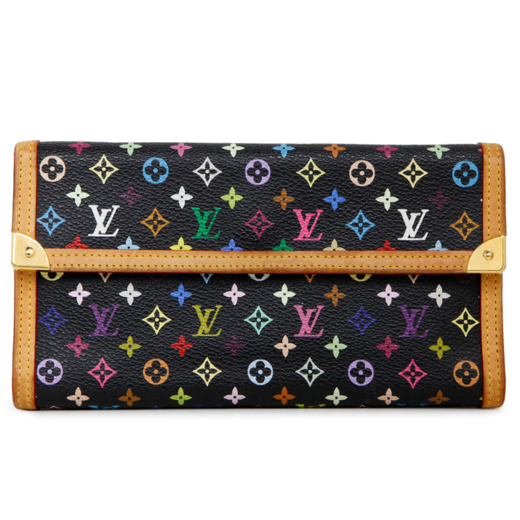 Louis Vuitton Black Multicolor Porte Tresor International Wallet