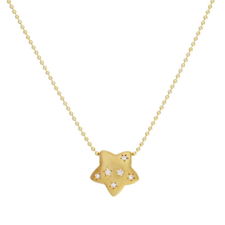 18K Yellow Gold Diamond Star Pendant Necklace