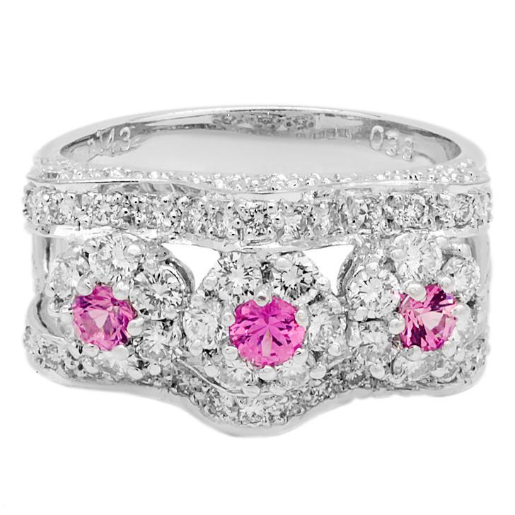 18K White Gold 0.38 Carat Pink Sapphire & Diamond Ring