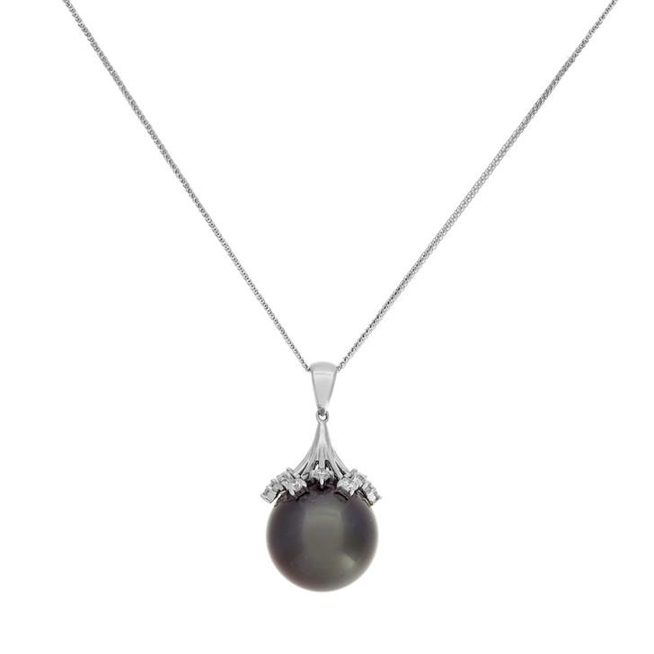 18K White Gold 0.72 Carat Diamond Tahitian Pearl Pendant Necklace