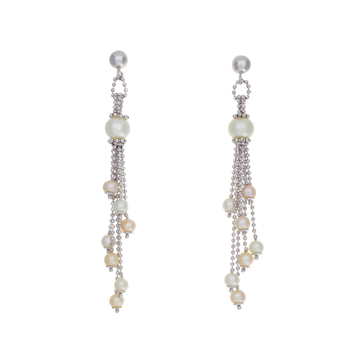 18K White Gold Akoya Pearl Drop Earrings