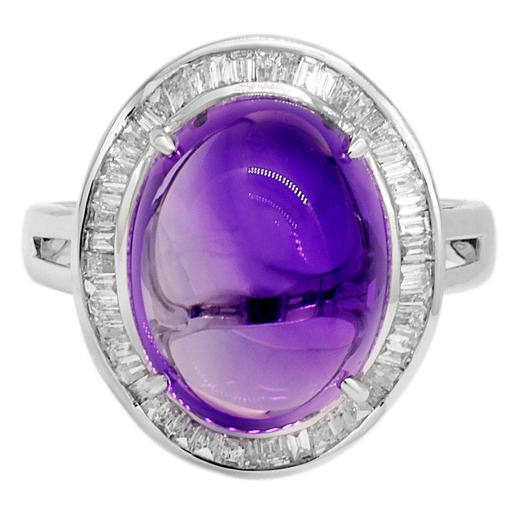 18K White Gold 9.66 Carat Amethyst & Diamond Ring