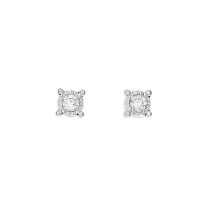 10K White Gold 0.10 Carat Diamond Stud Earrings