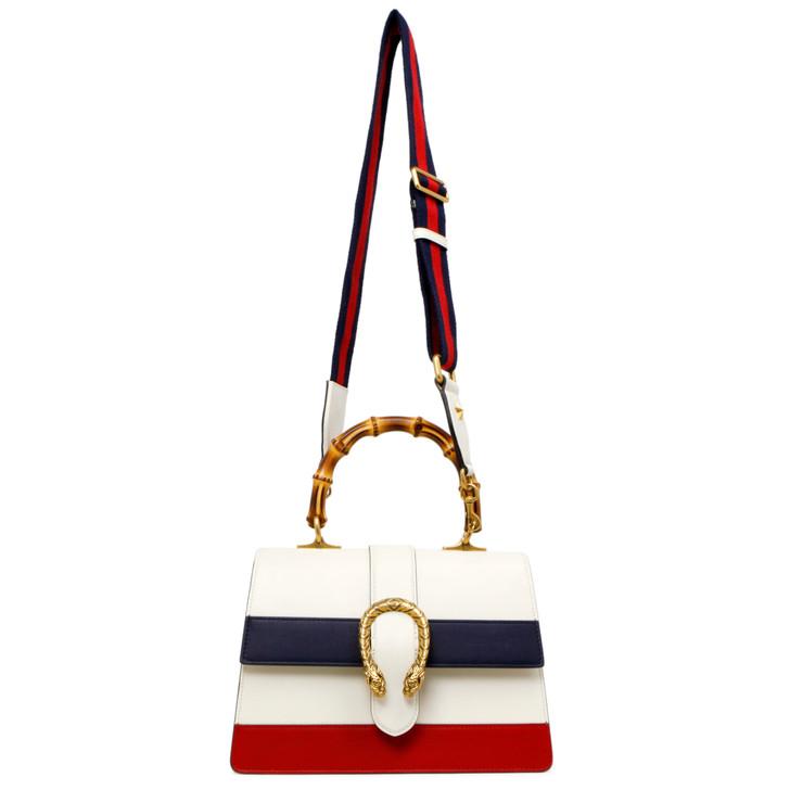 Gucci White Calfskin Medium Dionysus Bamboo Top Handle Bag