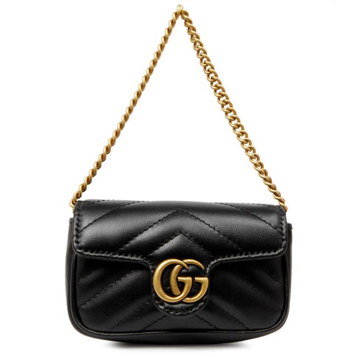 Gucci Black Matelasse Calfskin GG Marmont Chain Coin Purse