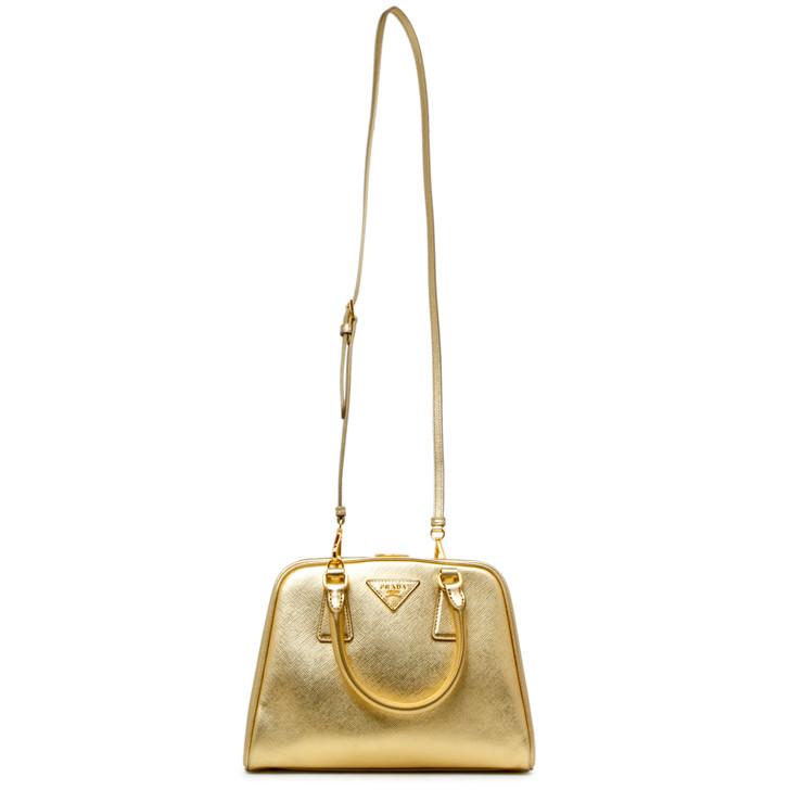 Prada Platino Metallic Saffiano Small Pyramid Bag