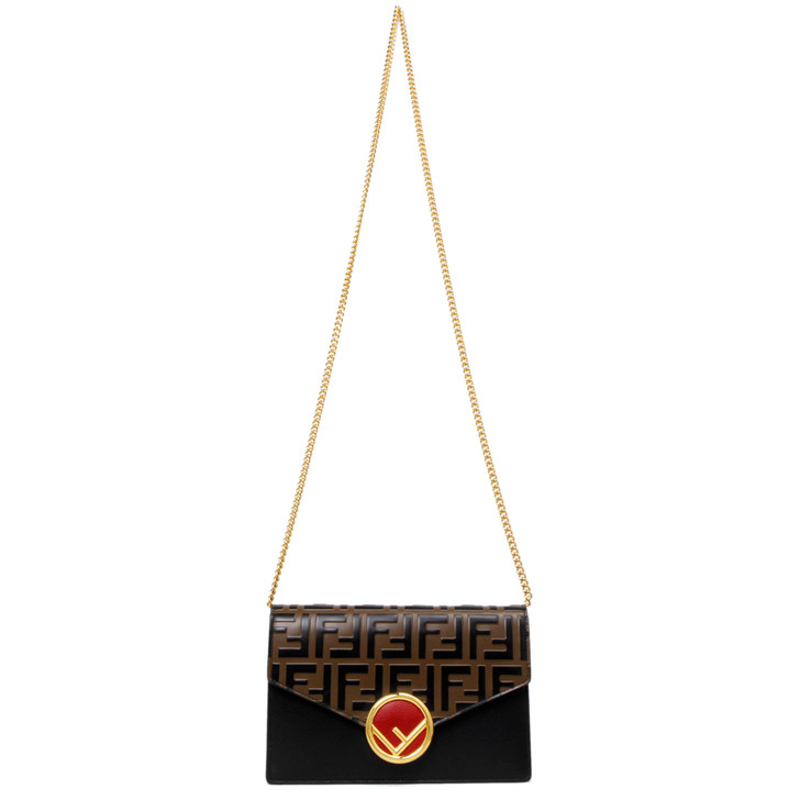 Fendi Vitello Zucca Embossed Wallet on Chain