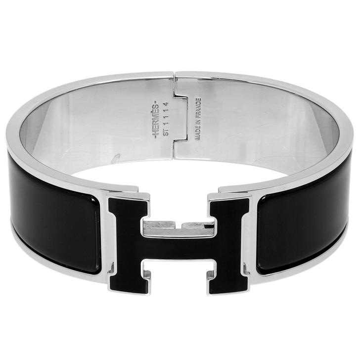 Hermes Black Enamel Clic Clac H Bracelet