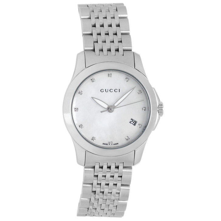Gucci Stainless Steel 27mm G Timeless Diamond Quartz Watch