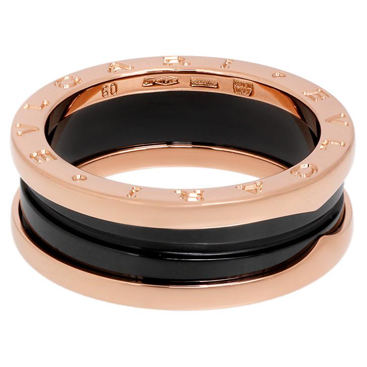 Bvlgari 18K Rose Gold & Black Ceramic B.Zero1  Two-Band  Ring