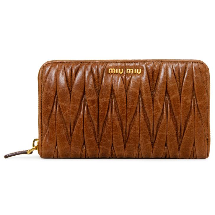 Miu Miu Brown Nappa Matelasse Zip Around Wallet