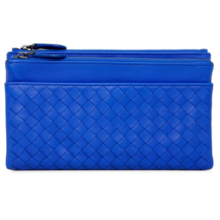 Bottega Veneta Blue Nappa Intrecciato Double Zip Wallet
