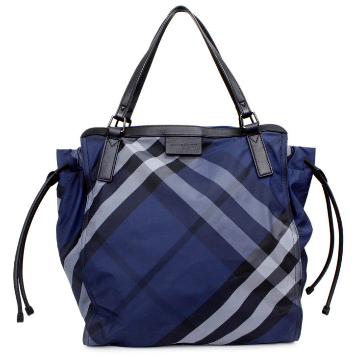 Burberry Navy Nylon Check Small Buckleigh Packable Tote