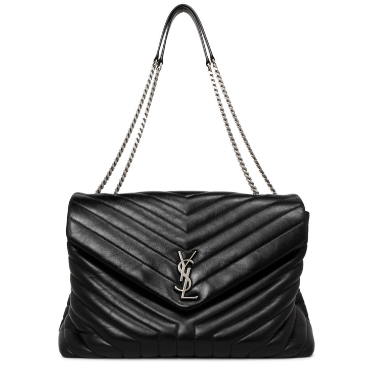 Saint Laurent Black Calfskin Matelasse Y Large Loulou Shoulder Bag