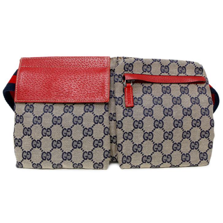 Gucci Red/Navy Monogram Canvas Belt Bag